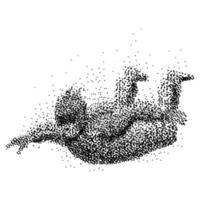 Sky diver illustration made from small dots vector