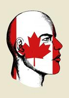 Sketch illustration of a face with Canadian insignia vector