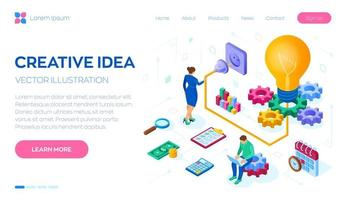 Creative Idea. Isometric Idea concept. Light bulb with gears. vector