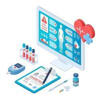 Medical diagnosis - Diabetes. Diabetes mellitus type 2 and insulin vector