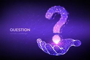 Question mark. Low poly abstract Question sign in hand. vector