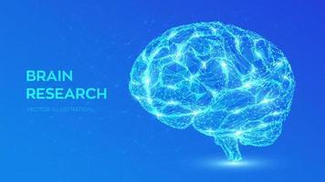 Brain. Low poly abstract digital human brain. Neural network. vector