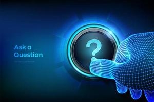 Ask a Question. Closeup finger about to press a button with a Question vector