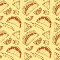 Mexican food seamless pattern with taco vector