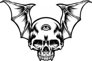 Flying eye three skull illustrations Silhouette vector