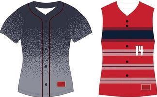 Full Button Softball Front Jersey Raglan Sleeves vector