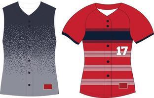 Full Button Softball Front Sleeveless Jersey vector
