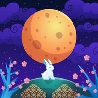 Moon and Rabbit in Mid Autumn Celebration vector