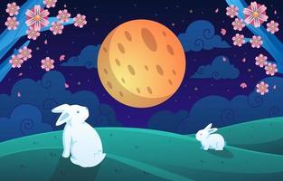 conejo mirando la luna en la celebración de mediados de otoño vector