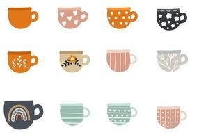 colección de diferentes tazas modernas decoradas con elementos de diseño vector