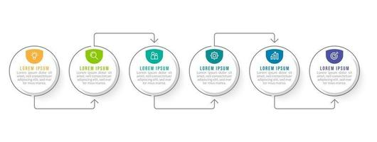 Infographic Template With 6 Workflow and Thin Arrow vector