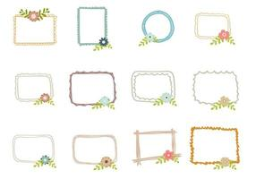 Set of Doodle Frame With Flowers vector