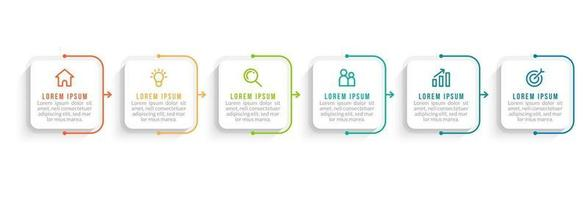 Infographic Template With 6 Workflow vector