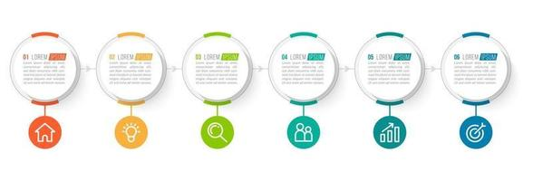 Six Colorful Circle Elements with Icons for Presentation vector