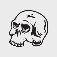 Skull head drawing vector
