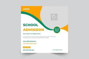 Admission banner post template for school, college, university vector