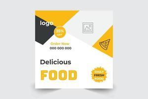Restaurant Food Banner Social Media Post Template Vector