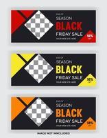 Black Friday sale facebook cover banner. Social media post template vector