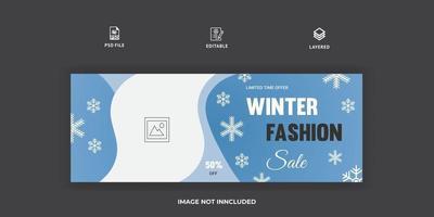 Winter fashion facebook cover design template vector
