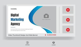 Thumbnail design for your videography. Video thumbnail and web banner vector