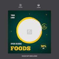 Restaurant Food Banner Social Media Template Vector