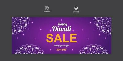Diwali sale social media banner and facebook cover template vector