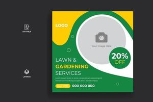 Lawn Mower Gardening Service Social Media Post and Web Banner Template vector