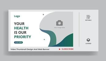 Healthcare video thumbnail and web banner for hospital vector