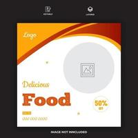 Food social media banner template vector