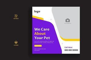 Pet care social media banner or web banner template. Pet care banner. vector