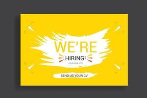 cartel de concepto de contratación o diseño de banner. anuncio de vacante de trabajo vector