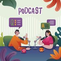 un podcaster entrevistando a una mujer vector
