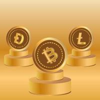 3d crypto currency type. vector graphics