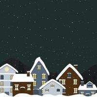 Night time on winter vector