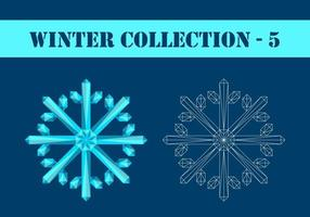 Cyan polygonal and contour snowflakes vector