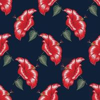 Seamless floral pattern red Hibiscus flowers background. vector