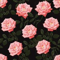 Seamless pattern Rose flowers vintage abstract background. vector