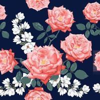 Fondo de flores de rosa y magnolia de patrones sin fisuras. vector