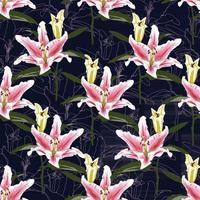 Seamless pattern Lilly flowers background. Vector illustration.