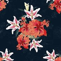 Seamless floral pattern Lilly and Hibiscus flowers background. vector