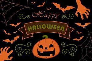 Black card with bats, pumpkin, cobweb and zombie hands vector