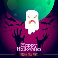 Halloween ghost with pink neon gradient, moon, bats and zombie hands vector