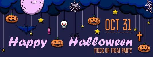 Purple invitation with bats, pumpkins, skull, spider and cobwebs vector