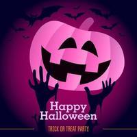 Halloween pumpkin with pink neon gradient, bats and zombie hands vector