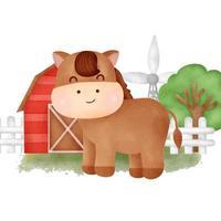 Cute cartoon horse in a farm vector