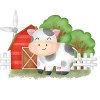 Cute cartoon sheep in a farm vector