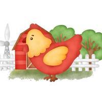 Cute cartoon chicken in a farm vector