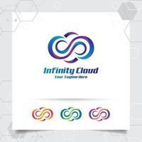 concepto de diseño de vector de logotipo de nube de nube y símbolo infinito