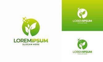 Digital agriculture logo template design, Green Technology logo vector