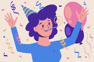Woman at a birthday party. Celebration and fun. Serpentine vector
